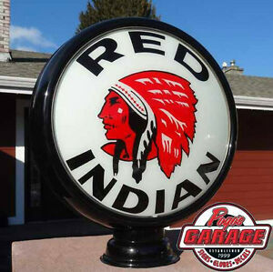 "Red Indian Gasoline 15"" Gas Pump Globe Lenses"
