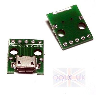 2 pcs Female MICRO USB to DIP 5-Pin Pinboard 2.54mm - UK seller