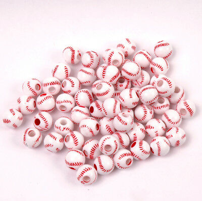 Baseball Beads 60pc for school sports jewelry necklaces bracelets kids crafts](Beads For Necklaces)