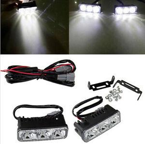 2 x Super Bright 3 LED Daylight Running Light Daytime Driving Light DRL White