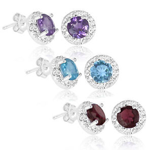 2-Carat-Blue-Topaz-Purple-Amethyst-or-Red-Garnet-Earrings