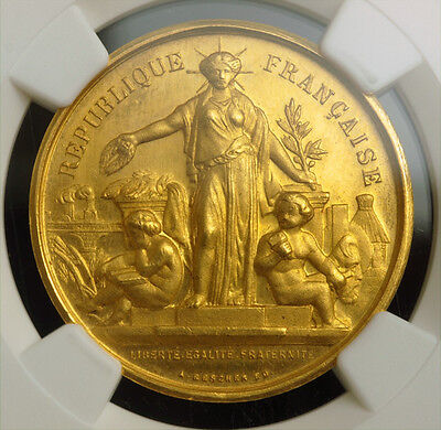 1890S FRANCE 3RD REPUBLIC. GOLD AGRICULTURE PRIZE MEDAL. 12.46GM NGC MS 64