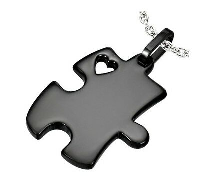 Puzzle Piece Heart Autism Awareness 316 Black Stainless Steel Pendant Necklace - Puzzle Piece Heart