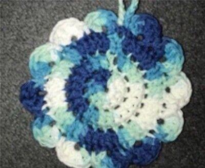 Handmade Blue Hippi Ombré Cotton Crochet 6-inch Scrubby or Coaster