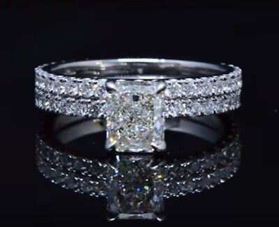 2.00ct Natural Radiant Pave Diamond Engagement Bridal Set - GIA Certified