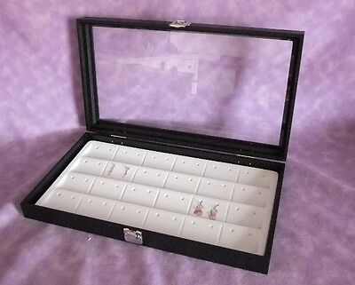 Glass Top Jewelry Display Case For 48 Earrings White