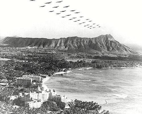 B-18 BOMBERS OVER WAIKIKI HAWAII 20 X 30 INCH BLACK AND WHITE GICLEE PHOTO