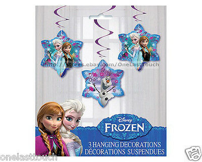 DISNEY FROZEN* 3pc Set HANGING DECORATIONS Birthday Party Supplies FOR GIRLS New