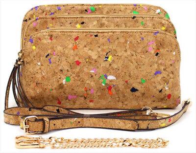 Muti-Color Cork cross body Handbag / Purse 5 compartments, lite weight, vegan