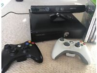 Xbox 360 with Kinect, two controllers and 19 games