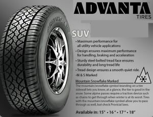 Advanta SUV Tires with Winter Snowflake emblem from