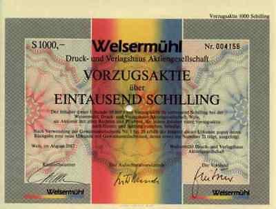 Welsermühl  Druck Verlagshaus Wels Linz Österreich 1987 Vorzugsaktie 1000 ÖS