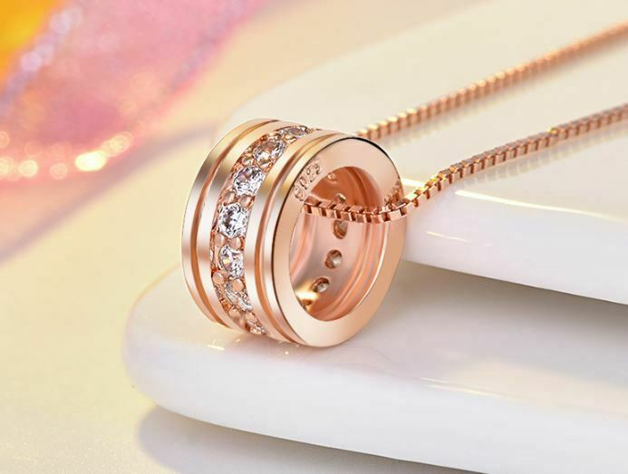 Jewellery - Rose Gold Round Pendant 925 Sterling Silver Chain Necklace Womens Jewellery Gift