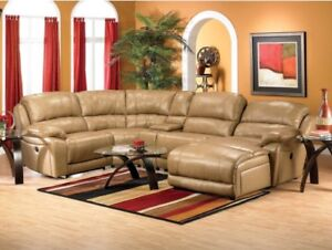 Genuine Tan Leather Sectional
