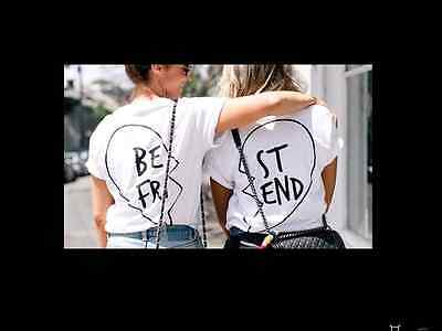 BEST FRIENDS T-SHIRT BACK PRINT BESTIES MATES BUDDIES GIRLFRIENDS FRIEND (Best Couple Printed T Shirts)