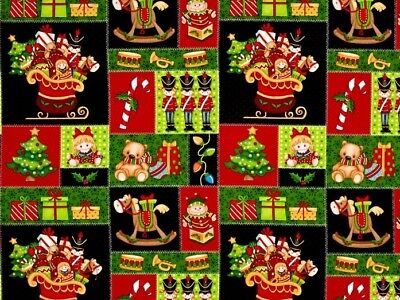Father Christmas Santa Jolly Ole St Nick Toys Cotton Quilting Fabric 1/2 YARD