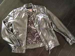 Faux leather silver jacket (thin & easy to move in) - sz 7/8.