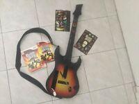 Wii Guitare + jeu Guitar Hero + Stickers neufs - 40$