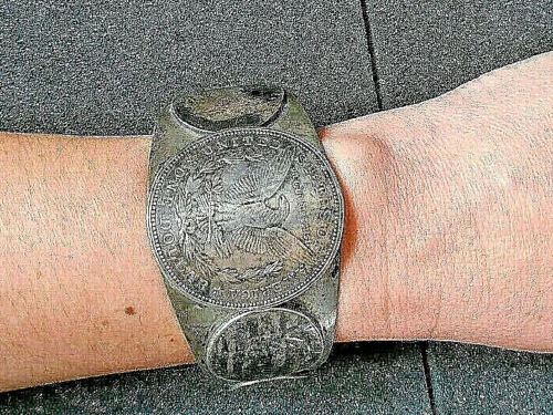 Southwestern Silver Dollar, Quarters + Dimes Coin Silver Cuff Bracelet Signed RS