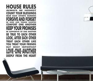 Vinilo de pared grande pegatinas frases reglas del hogar - Pegatinas pared frases ...