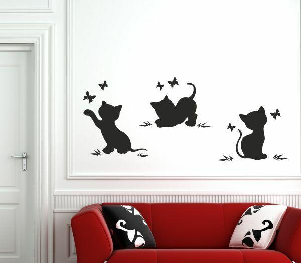 Wandaufkleber Wandtattoo Aufkleber Tattoo 3x Katze Kätzchen Tier Schmusekatze 63