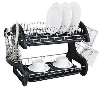 Home Basics NEW 2 Tier Black Dish Drainer Drying Rack Washing Organizer- DD10249