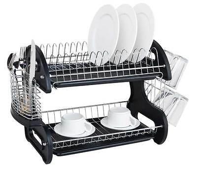 Home Basics NEW 2 Tier Black Dish Drainer Drying Rack Washing Organizer- DD10249