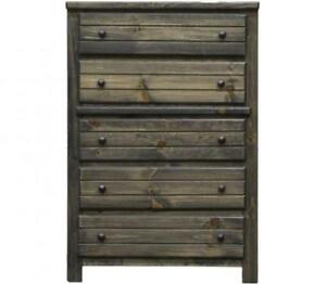 Brand New! Pine 5 Drawer Chest in Rustic Grey! FREE delivery in Montreal!
