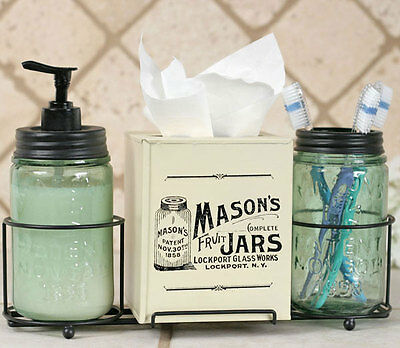Mason Jar Bathroom Caddy Soap Dispenser, Toothbrush Holder, Tissue Box Cover