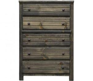 Brand New! Pine 5 Drawer Chest in Rustic Grey! FREE delivery in Vancouver!