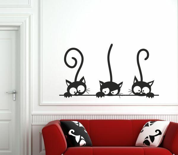 Wandaufkleber Wandtattoo Aufkleber Tattoo 3x Katze Kätzchen Tier Schmusekatze 62