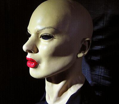 Latexmaske GEISHA RED + WIMPERN Frau Gesicht Zofe Maske Crossdresser Trans Sissy