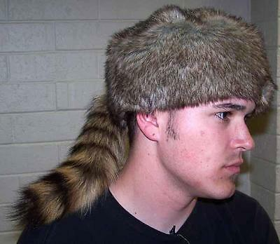 ADULT SIZE RACCOON TAIL HAT fur raccoons animal tails novelty cap NEW HATS - Raccoon Skin Hat