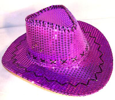 SEQUIN PURPLE COWBOY HAT sparkle flashey dancing hats women headwear caps new