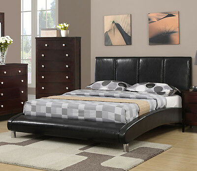 NEW LUCERNE CONTEMPORARY BLACK BYCAST LEATHER FULL or QUEEN PLATFORM BED