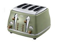 De'Longhi Icona Vintage 4 slice toaster-Olive/Green NEW