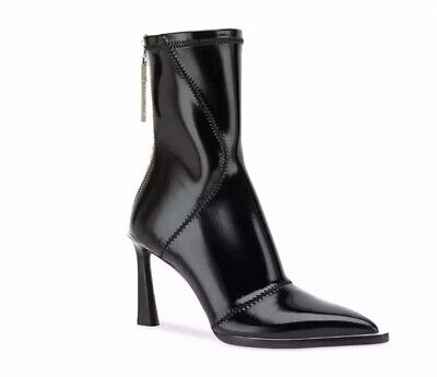 Authentic Fendi Fframe Black Patent Neoprene Stretch Logo Sock Ankle Boots 38