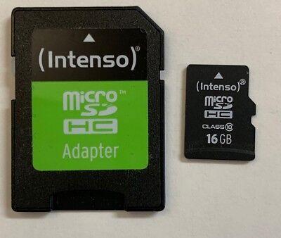 16GB MicroSD Class 10 Speicherkarte Micro SDHC + SD-Adapter INTENSO