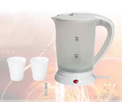 0.5 LITRE TRAVEL KETTLE + CUPS DUAL VOLTAGE CORDED ABROAD CAMPING CARAVAN TEA