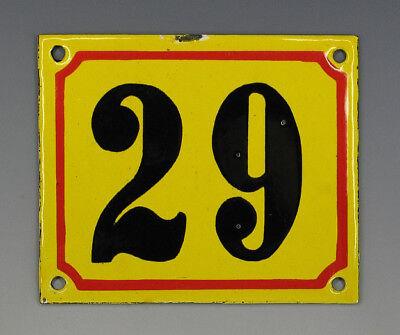 EMAILLE, EMAIL-HAUSNUMMER 29 in GELB/ROT/SCHWARZ um 1955