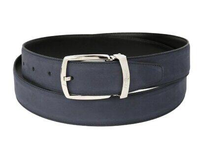 S.T. Dupont 35mm Navy Blue Nubuck Leather Belt, Palladium Buckle, 8210156, NIB