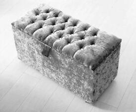 Ottoman Storage Box Fabric Seat Folding Stool Lounge Footrest