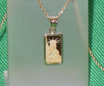 Pure  9999 Gold  1 Gram   Statue Of Liberty  Bar   14 Kt Gold  Pendant    98 88