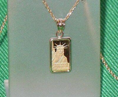 Pure 9999 Gold  1 Gram   Statue Of Liberty  Bar   14 Kt Gold  Pendant    107 88