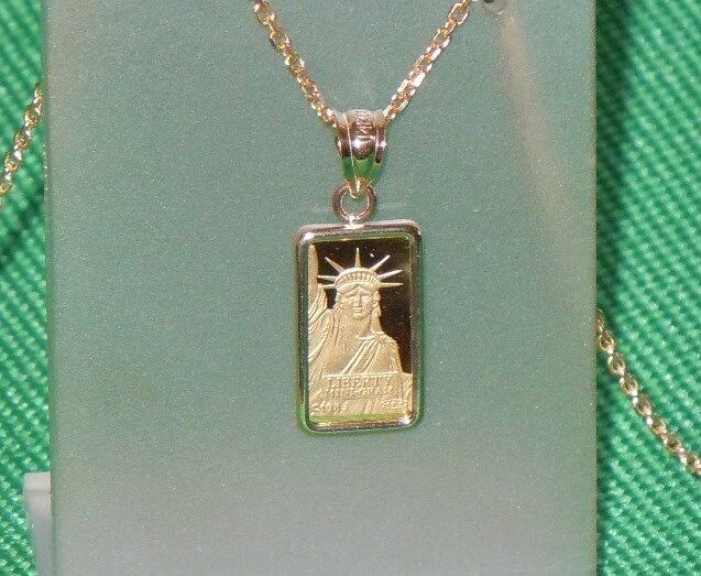 PURE .9999 GOLD ~1~GRAM ~ STATUE of LIBERTY  BAR ~ 14-KT GOLD  PENDANT ~ $124.88
