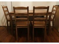 Table and 4 chairs, antique stain