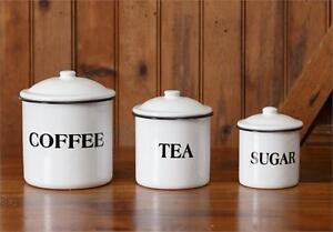 Country Vintage Style Farmhouse White Enamel COFFEE TEA & SUGAR Canisters