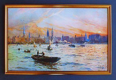 Deutsches Reich Hamburg Hafen 1909 Gemälde v Stöwer 7LW