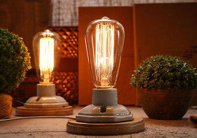 OLD Vintage Edison Filament Light bulb with table lamp & dimmer T64 110-220v HOT
