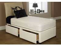 """**BRAND NEW** 3FT Single / 4FT Small Double Black Divan Bed With 10"""" Ambassador Orthopaedic Mattress"""